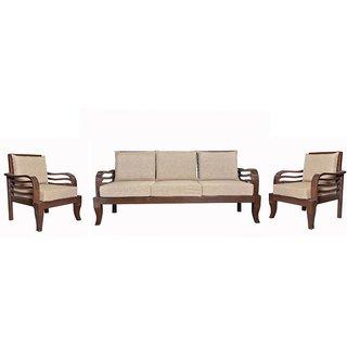Brayne Wooden Five Seater Sofa Set ( 3+1+1 )