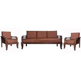 Cesaro Wooden Five Seater Sofa Set ( 3+1+1 )