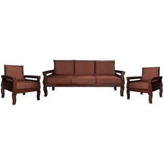 Emanuel Wooden Five Seater Sofa Set ( 3+1+1 )