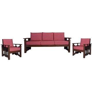 Perkins Wooden Five Seater Sofa Set ( 3+1+1 )