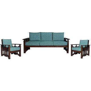 Heyman Wooden Five Seater Sofa Set ( 3+1+1 )