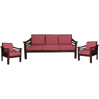 Huber Wooden Five Seater Sofa Set ( 3+1+1 )