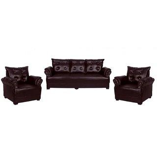 Tezerac -Seabury Leatherette 3+1+1 Sofa Set - Brown