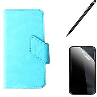 Callmate Sticker Flip Case For Nokia Asha 230 +Screen Guard+Stylus Pen -Sky Blue