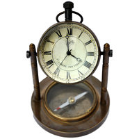 Antique Clock And Compass Pure Brass Handicraft Brass Decorative Item
