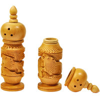 Hand Carved Wooden Salt Pepper Dispenser Gift Salt Pepper Set