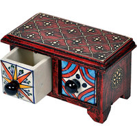 Wooden Handicraft Smart Blue Color Pottery Ceramic Double Drawer Set