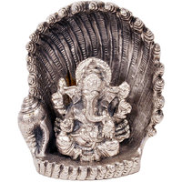 Spiritual Handicraft White Metal Antique Lord Ganesha On Naag Idol