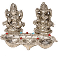 Rajasthani Artwork White Metal Lord Laxmi Ganeshas Idol With Diya Set