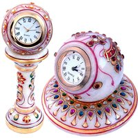 Buy Gold Painted Marble Pillar Table Clock N Get Round Clock Free