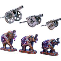 Buy Pure Brass Jaipuri Canon Set N Get Paper Mache Handicraft Free