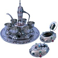 Buy Pure Brass Antique Wine Set N Get Shiny Gemstone Ash Tray Free
