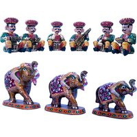 Buy Wooden Rajasthani Musician Set N Get Paper Mache Handicraft Free