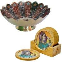 Buy Pure Brass Minakari Work Fruit Bowl N Get Wooden Tea Coaster Free