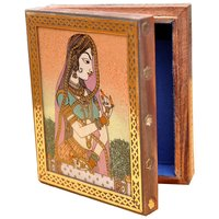 JaipurRaga Beautiful Queen Painted Handmade Gemstone Wooden Jewellery Box Item