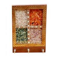 JaipurRaga Orignal Rear Gem Stones In Glass Frame Wooden 3 Key Hanger