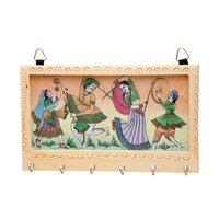 JaipurRaga Rajasthani Art Handmade Gemstone Painting Wooden 6 Key Hanger