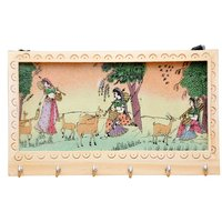 JaipurRaga Traditional & Rear Gemstone Painted Wooden 6 Key Hanger