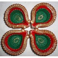 Beautiful Diwali Diyas Red & Green