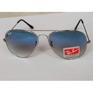 Ray-Ban  Aviator Sunglases Double Shade Blue With Silver Frame Unisex Made In It