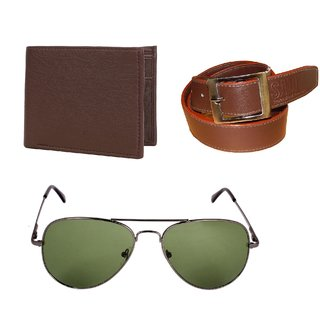 iLiv combo - Green Aviator Brown wallet and Brown Belt
