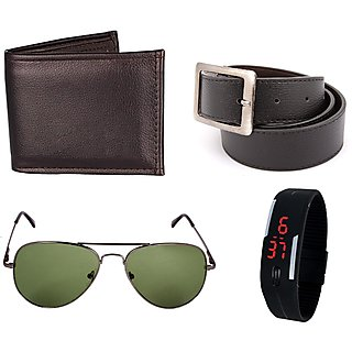 iLiv Green UV Protection Aviator Black Wallet belt and Led Band Watch combo