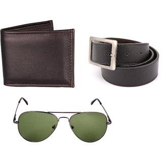 iLiv Black UV Protection Aviator Men Brown Wallet Brown belt COmbo