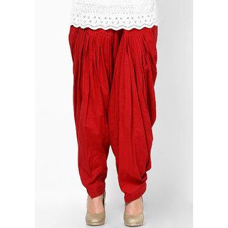 Red Cotton Full Patiala Salwar