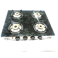 Blue Blaze 4 Burner Glass Top Gas Stove Grey Marble Auto Ignition