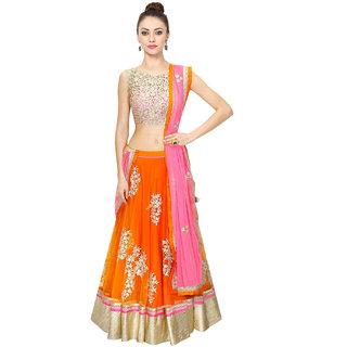 Fabdiwa Fashion new stylist orange indian Designer lehenga