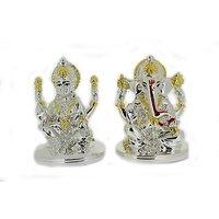 Silver Plated Latest Style Murti Lakshmi Ganesha Idols