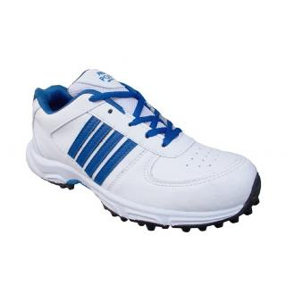 Port Womens Retro White Pu Rubber Stud Cricket Spikes Sports Shoes