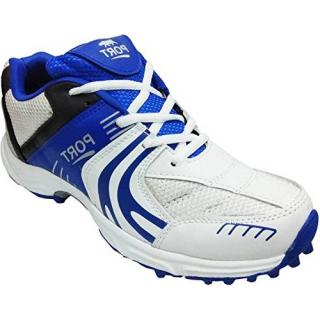 Port Womens Bruck White Blue Pu Rubber Stud Cricket Spikes Sports Shoes