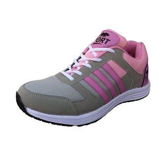 Port Womens Rock Gray Silver Mesh Sports Shoes