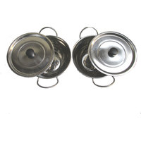 Stainless Steel Serving Handis With Lids (Set of 2 Pcs.)