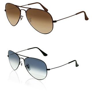 Set Of 2 Brown And Blue Uv Protected Aviator Sunglasses JS