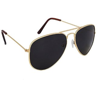 SUNSET Golden Frame And Black Lenses Mirrored Aviatorr Sunglassess