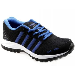 Tomcat Mens Black Blue Lace-up Running Shoes