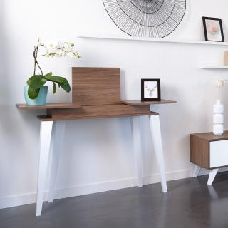 Prism console - dcor walnut and white angled legs