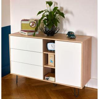 Aero sideboard - dcor natural oak and charcoal grey angled legs