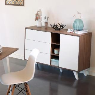 Prism sideboard - dcor walnut and white angled legs