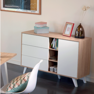 Prism sideboard - dcor natural oak and white angled legs