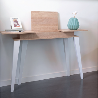 Prism console - dcor natural oak and white angled legs