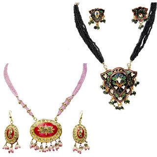 Buy Pink Necklace Set & Get Brass Necklace Set Free