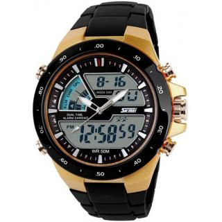 Skmei Imported Trendy Gold Color Casual Rugged Analog And Digital  PU Quartz Mens Watch