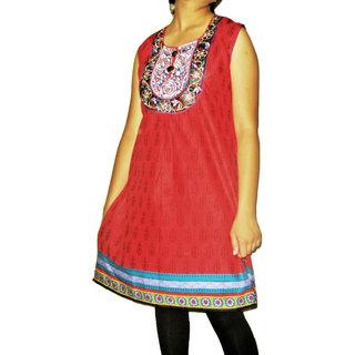 1406 L Party Wear Fine Cotton Embroidred Neckline Kurti