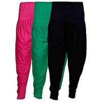 Fashion And Freedom Women's Pack of 3 Black, Magenta And Green Lycra Base Viscose Dhoti
