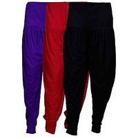 Fashion And Freedom Women's Pack of 3 Black, Maroon And Violet Lycra Base Viscose Dhoti