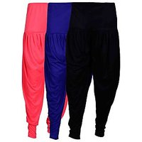 Fashion And Freedom Women's Pack of 3 Black, Pink And Blue Lycra Base Viscose...