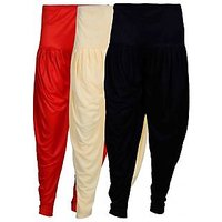 Fashion And Freedom Women's Pack of 3 Black, Red And Cream Lycra Base Viscose...